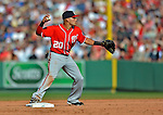 9 June 2012: Washington Nationals shortstop Ian Desmond gets Kevin Youkilis out at second during a game against the Boston Red Sox at Fenway Park in Boston, MA. The Nationals defeated the Red Sox 4-2 in the second game of their 3-game series. Mandatory Credit: Ed Wolfstein Photo