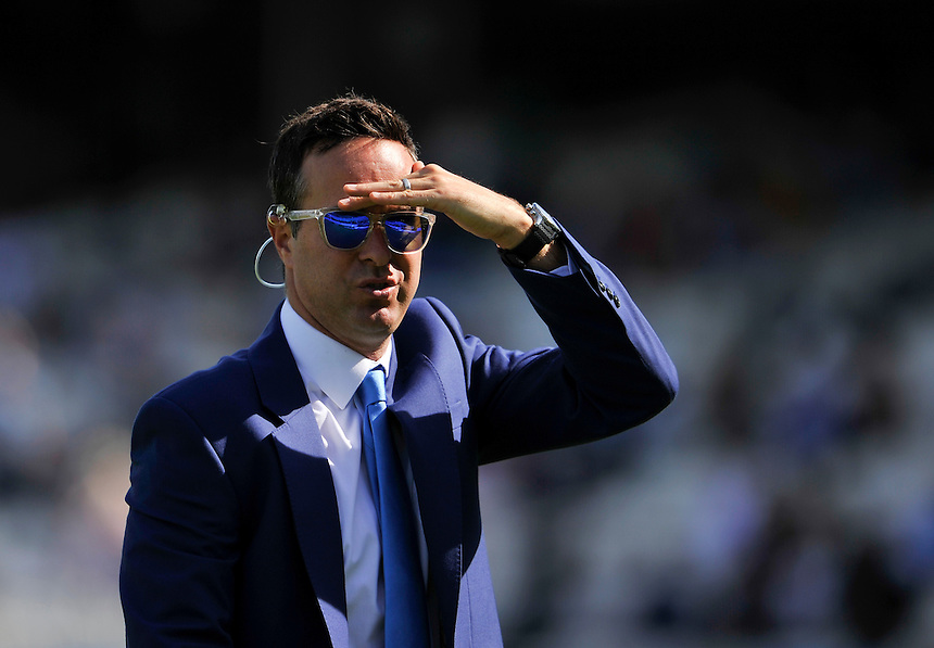 Ex England captain and match summariser Michael Vaughan dressed in blue today for Cricket United<br /> <br /> Photographer Ashley Western/CameraSport<br /> <br /> International Cricket - Investec Ashes Test Series 2015 - Fifth Test - England v Australia - Day 3 - Saturday 22nd August 2015 - Kennington Oval - London<br /> <br /> &copy; CameraSport - 43 Linden Ave. Countesthorpe. Leicester. England. LE8 5PG - Tel: +44 (0) 116 277 4147 - admin@camerasport.com - www.camerasport.com