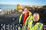 Pictured are the Fenit Fishermen Memorial committee who are putting the final preparations together on Friday last, as they have arranged for the statue to be erected in memory of Fenit fisherman lost at sea, l-r: Stephen O'Sullivan (Architect) and Michael Moriarty (Chairman of Fenit Fishermen Memorial Committee).