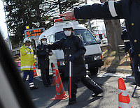A road-block near Fukushima, 60 km from the Fukushima Daiichi Nuclear Power Plant. Plant was damaged during the  Earthquake and following Tsunami that struck Japan 11th March 2011.<br /> 17 Mar 2011