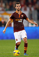 Calcio, Serie A: Roma vs ChievoVerona. Roma, stadio Olimpico, 31 ottobre 2013.<br /> AS Roma midfielder Miralem Pjanic, of Bosnia, in action during the Italian Serie A football match between AS Roma and ChievoVerona at Rome's Olympic stadium, 31 October 2013.<br /> UPDATE IMAGES PRESS/Riccardo De Luca