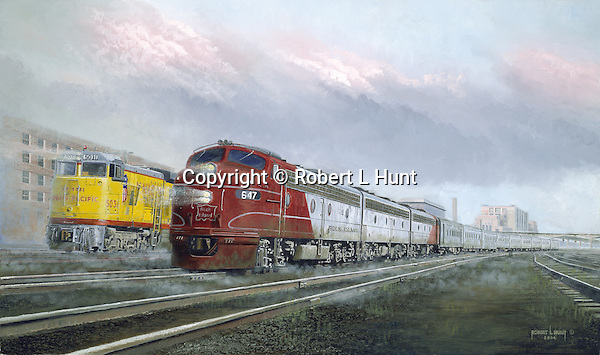 "The Rock Island Railroad diesel passenger train ""Omaha Rocket"" side by side with a Union Pacific train in Omaha, Nebraska, circa 1958. Oil on canvas, 18"" x 30""."
