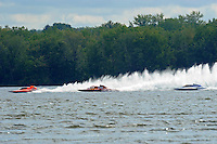 "1st lap of the final:Marty Wolfe, GP-93 ""Renegade"", Patrick Haworth, GP-777 ""The Crush"",Tom Pakradooni, GP-88, Grand Prix class hydroplane(s).Syracuse Hydrofest, Onondaga Lake, Syracuse, NY.20/21 June, 2009, Dayton, OH USA..©F. Peirce Williams 2009 USA.F.Peirce Williams.photography.ref: RAW (.NEF) File Available"
