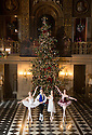 04/11/16<br /> <br /> Commission Mcc0073519 Assigned<br /> <br /> L/R: Alice Rathbone (23), Benjamin Jones (15), Daisy Edwards (19) & Daisy Kerry (17).<br /> <br /> Ballerinas pose for photographs in the Painted Hall at Chatsworth House to mark the start of the stately home's Christmas themed  'The Nutcracker'. Join Clara's adventures as she is swept away by her Nutcracker Prince until Jan 3 2017.<br /> <br /> All Rights Reserved F Stop Press Ltd. (0)1773 550665   www.fstoppress.com