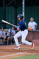 Elizabethton Twins right fielder Trevor Larnach (9) follows through on a swing during a game against the Bristol Pirates on July 28, 2018 at Joe O'Brien Field in Elizabethton, Tennessee.  Elizabethton defeated Bristol 5-0.  (Mike Janes/Four Seam Images)