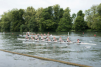 "Henley on Thames, United Kingdom, 23rd June 2018, Saturday,   ""Henley Women's Regatta"",  view, A heat of the Women's eights passes Temple Island on day two of  the Regatta,Henley Reach, River Thames, England, © Peter SPURRIER/Alamy Live News"