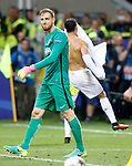 Real Madrid's Cristiano Ronaldo celebrates the victory in the UEFA Champions League 2015/2016 Final match in presence of Atletico de Madrid's Jan Oblack dejected (l).May 28,2016. (ALTERPHOTOS/Acero)