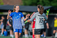 Boston, MA - Saturday July 01, 2017: Julie King and Sammy Jo Prudhomme during a regular season National Women's Soccer League (NWSL) match between the Boston Breakers and the Washington Spirit at Jordan Field.