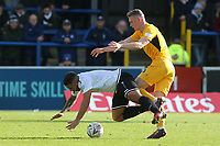 Jai Reason of Dover takes a tumble after a challenge from Southend's Ethan Hamilton during Dover Athletic vs Southend United, Emirates FA Cup Football at the Crabble Athletic Ground on 10th November 2019