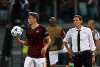 Calcio, Champions League, Gruppo E: Roma vs Barcellona. Roma, stadio Olimpico, 16 settembre 2015.<br /> Roma&rsquo;s Lucas Digne, left, holds the ball past coach Rudi Garcia during a Champions League, Group E football match between Roma and FC Barcelona, at Rome's Olympic stadium, 16 September 2015.<br /> UPDATE IMAGES PRESS/Riccardo De Luca<br /> <br /> *** ITALY AND GERMANY OUT ***