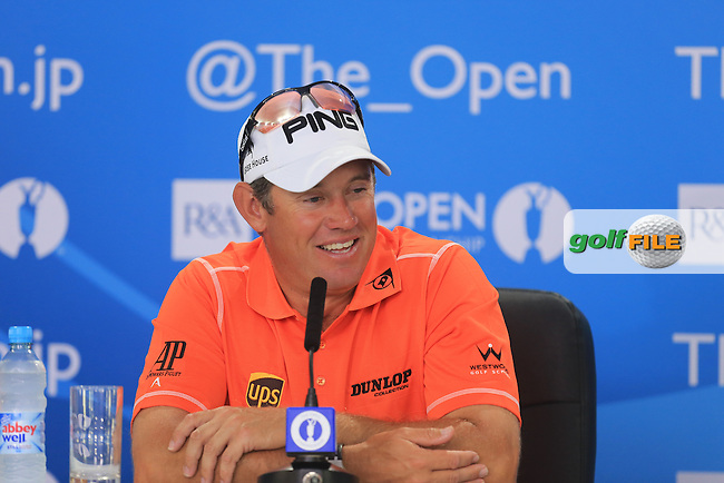Lee WESTWOOD (ENG) speaks with the media after round 3 of  The 142th Open Championship Muirfield, Gullane, East Lothian, Scotland 20/7/2013<br /> Picture Eoin Clarke www.golffile.ie: