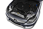 Car stock 2018 Mercedes Benz C Class AMG Line 5 Door Wagon engine high angle detail view