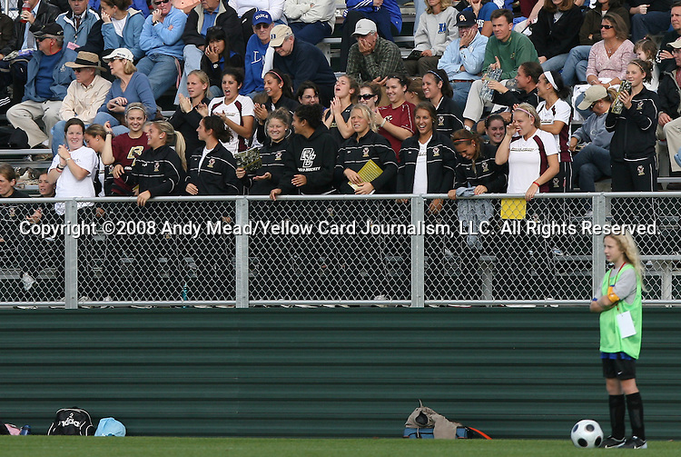 05 November 2008: Boston College's Field Hockey team cheers on their soccer counterparts. Boston College defeated Duke University 1-0 at Koka Booth Stadium at WakeMed Soccer Park in Cary, NC in a women's ACC tournament quarterfinal game.