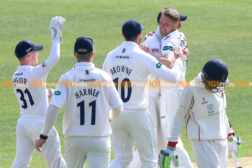 Jamie Porter of Essex celebrates taking the wicket of Haseeb Hameed during Essex CCC vs Lancashire CCC, Specsavers County Championship Division 1 Cricket at The Cloudfm County Ground on 7th April 2017