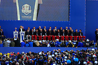 The USA team on stage during the Sunday Singles Matches of the Ryder Cup at Gleneagles Golf Club on Sunday 28th September 2014.<br /> Picture:  Thos Caffrey / www.golffile.ie