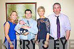 Pictured at the Christening of Baby Tiernan Fitzgerald on Saturday in the Devon Inn Hotel, Templeglantine were L-R : Katie Scanlon, Godmother, Richard Fitzgerald, Father with baby Tiernan, Sandra Fitzgerald, Mother and Jason Kelly, Godfather.