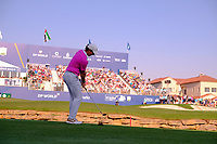 Rory McIlroy (NIR) playing onto the 18th green during the final round of the DP World Tour Championship, Jumeirah Golf Estates, Dubai, United Arab Emirates. 24/11/2019<br /> Picture: Golffile | Fran Caffrey<br /> <br /> <br /> All photo usage must carry mandatory copyright credit (© Golffile | Fran Caffrey)
