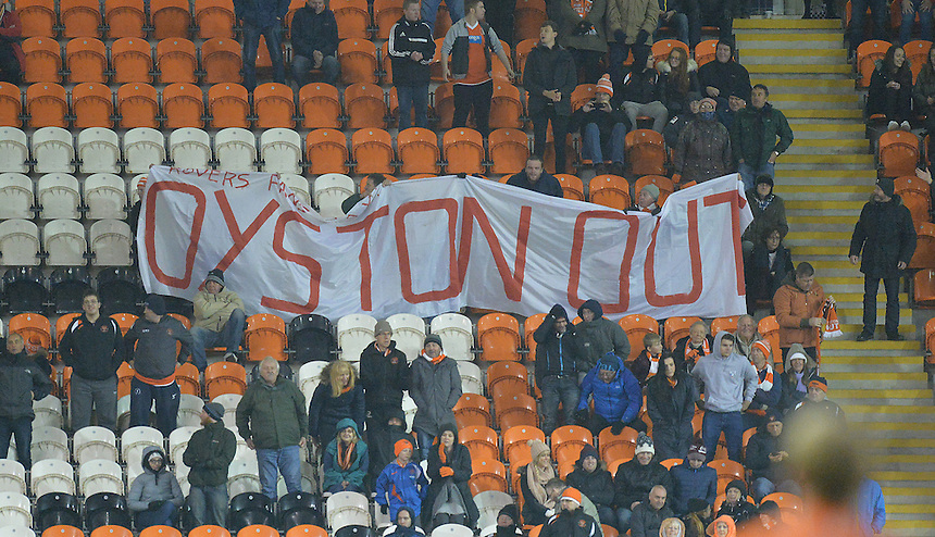 The Oyston Out banner brought by the Doncaster Rovers' fans and waved by the Blackpool fans<br /> <br /> Photographer Dave Howarth/CameraSport<br /> <br /> Football - The Football League Sky Bet League One - Blackpool v Doncaster Rovers - Saturday 14th November 2015 -   Bloomfield Road - Blackpool<br /> <br /> &copy; CameraSport - 43 Linden Ave. Countesthorpe. Leicester. England. LE8 5PG - Tel: +44 (0) 116 277 4147 - admin@camerasport.com - www.camerasport.com