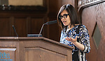 Tuyet Le, pan-Asian advocate, delivers a keynote address during the second annual Grace Lee Boggs Heritage Breakfast hosted by the Office of Institutional Diversity and Equity, Thursday, May 9, 2019, in Cortelyou Commons. (DePaul University/Jeff Carrion)