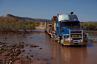 Truck driver Nick Atkins crossing the Pentecost River on the Gibb River Road.