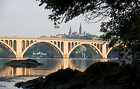 Key Bridge Georgetown from Roosevelt Island on the Potomac River Washington DC