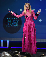 SANTA MONICA, CA - JANUARY 11: Nicole Kidman accepts Best Actress in a Movie/Limited Series for 'Big Little Lies' at the 23rd Annual Critics' Choice Movie Awards at Barker Hangar on January 11, 2018 in Santa Monica, California. (Photo by Frank Micelotta/PictureGroup)