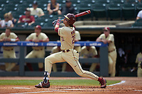 Drew Mendoza (22) of the Florida State Seminoles follows through on his swing against the North Carolina Tar Heels in the 2017 ACC Baseball Championship Game at Louisville Slugger Field on May 28, 2017 in Louisville, Kentucky. The Seminoles defeated the Tar Heels 7-3. (Brian Westerholt/Four Seam Images)