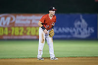 Kannapolis Intimidators shortstop Max Dutto (14) on defense against the Hagerstown Suns at Kannapolis Intimidators Stadium on July 4, 2016 in Kannapolis, North Carolina.  The Intimidators defeated the Suns 8-2.  (Brian Westerholt/Four Seam Images)