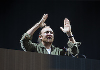 David Guetta applauds the crowd as he performs during The New Look Wireless Music Festival at Finsbury Park, London, England on Sunday 05 July 2015. Photo by Andy Rowland.