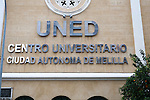 UNED university building sign, Melilla autonomous city state Spanish territory in north Africa, Spain