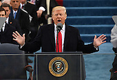 President Donald Trump delivers his inaugural address at the Inauguration Ceremony on January 20, 2017 in Washington, D.C.  Trump became the 45th President of the United States.       <br /> Credit: Pat Benic / Pool via CNP