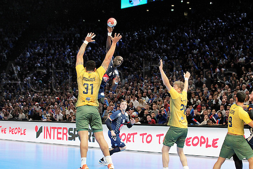 11.01.2017. Accor Arena, Paris, France. 25th World Handball Championships France versus Brazil. Guy Olivier Nyokas France in action as he shoots over Moraes (bra)