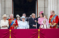 17 June 2017 - London, England - Queen Elizabeth II, Prince Philip, Duke of Edinburgh, Prince William, Duchess Kate, Princess Kate, Duchess of Cambridge and Prince George and Princess Charlotte, Prince Harry, Prince Charles, Prince of Wales and Camilla, Duchess of Cornwall, Princess and Eugenie and Princess Beatrice and Prince Andrew. The ceremony of the Trooping the Colour, marking the monarch's official birthday, in London. Photo Credit: PPE/face to face/AdMedia