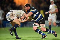 James Phillips of Bath Rugby runs in a try. Aviva Premiership match, between Worcester Warriors and Bath Rugby on January 5, 2018 at Sixways Stadium in Worcester, England. Photo by: Patrick Khachfe / Onside Images