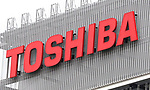 October 24, 2017, Kawasaki, Japan - Japanese electronics giant Toshiba's logo is displayed in Kawasaki, suburban Tokyo on Tuesday, October 24, 2017. Troubled Toshiba held an extraordinary shareholders meeting and approved to sell its semiconductor unit Toshiba Memory.    (Photo by Yoshio Tsunoda/AFLO) LWX -ytd-