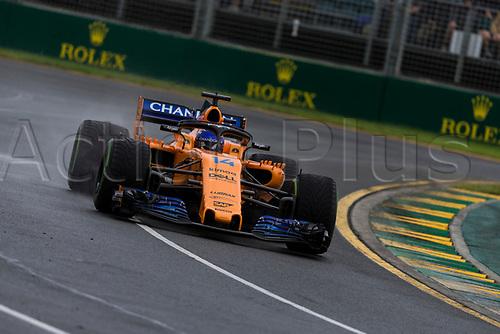 24th March 2018, Melbourne Grand Prix Circuit, Melbourne, Australia; Melbourne Formula One Grand Prix, qualifying; The number 14 McLaren driven by Fernando Alonso