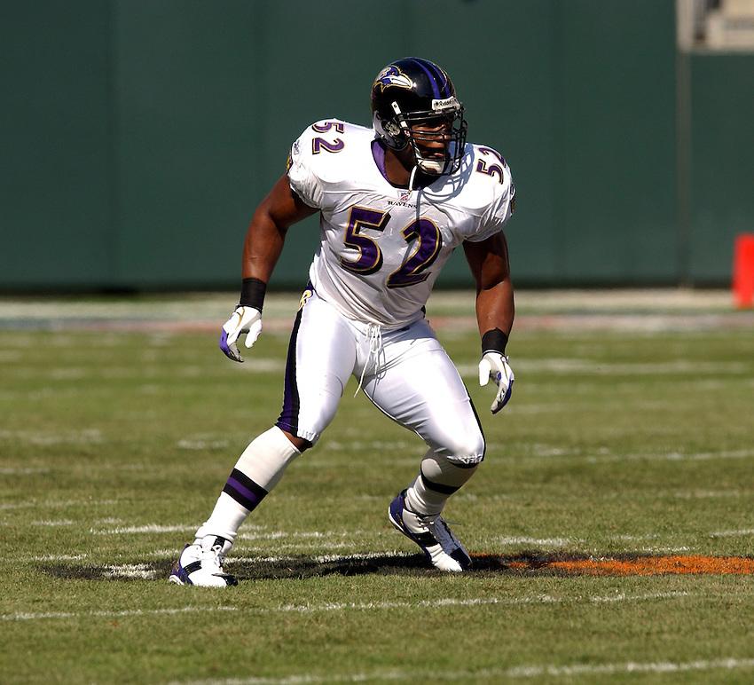 Baltimore Ravens linebacker Ray Lewis during the 2003 NFL season.