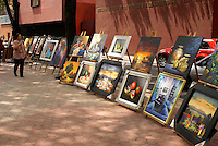 Paintings for sale at the art show held every Sunday in the Jardin del Arte, Sullivan Park, Mexico City
