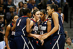 01 APRIL 2012:  University of Connecticut teammates congratulate Kelly Faris (34) after making a steal against the University of Notre Dame during the Division I Women's Final Four Semifinals at the Pepsi Center in Denver, CO.  Notre Dame defeated UCONN 83-75 to advance to the national championship game.  Jamie Schwaberow/NCAA Photos