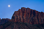 Moonrise in evening light over the cliffs of Johnson Mountain, Springdale, near Zion National Park, Utah