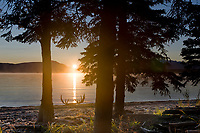 Sunrise over Naknek lake, Kejulik mountains, Katmai National Park, Alaska.