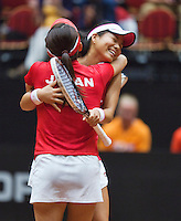 The Netherlands, Den Bosch, 20.04.2014. Fed Cup Netherlands-Japan, AOYama/Ozaki win the doubles<br /> Photo:Tennisimages/Henk Koster