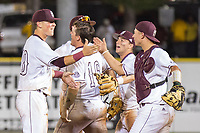Mississippi State University baseball players celebrate after coming from behind to defeat the University of Southern Mississippi and win the NCAA Baseball Tournament's Hattiesburg Regional. After winning four elimination games in two days, the Bulldogs move on to face Louisiana State University this weekend in the Super Regional. <br />