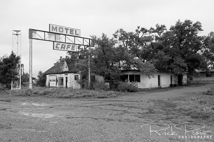 Longhorn Motel along Route 66 in Glenrio, Texas. Glenrio straddled the Texas-New Mexico state line and thrived through the 40's, 50's, and 60's until the Interstate bypassed the town in 1975.
