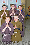 YOUNG: Dresssed up in their Monks Habit on satrurday evening at Ardfert NS to break the world record.Front l-r: Sean Brosnan and Padraig O'Sullivan Back l-r: Cian McCarthy, Lorcan Ryan and Billy Daly.