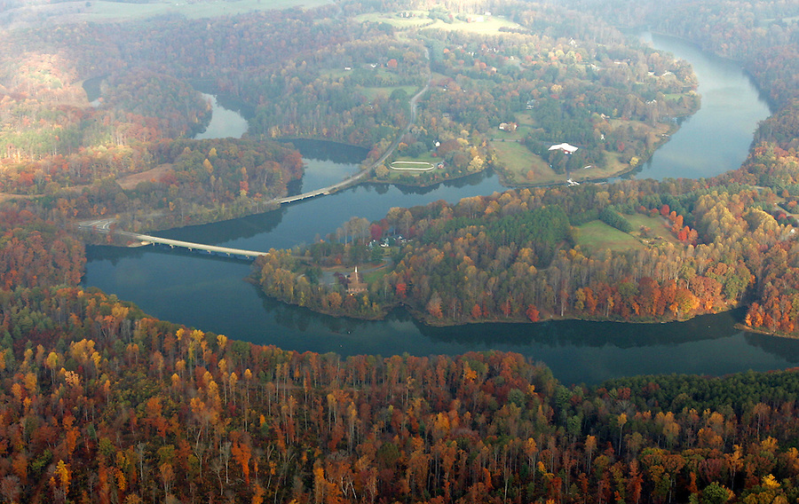 rivanna river reservoir, aerial