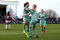 Danielle van de Donk of Arsenal scores the fourth goal for her team and celebrates during West Ham United Women vs Arsenal Women, FA Women's Super League Football at Rush Green Stadium on 6th January 2019