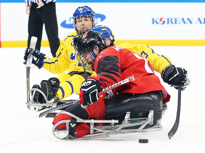 Pyeongchang, Korea, 10/3/2018- Canada plays Sweden in hockey during the 2018 Paralympic Games in PyeongChang. Photo Scott Grant/Canadian Paralympic Committee.