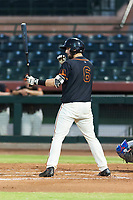 AZL Giants Black catcher Cody Brickhouse (6) at bat during an Arizona League game against the AZL Rangers at Scottsdale Stadium on August 4, 2018 in Scottsdale, Arizona. The AZL Giants Black defeated the AZL Rangers by a score of 6-3 in the second game of a doubleheader. (Zachary Lucy/Four Seam Images)