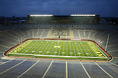 Michigan Stadium lights up from the installations of new permanent lighting on November 19, 2010.